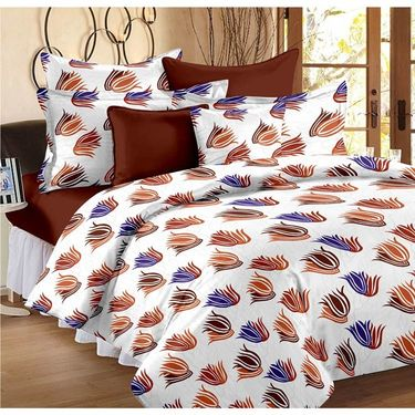 Set Of 2 Double Bedsheet With 4 Pillow Cover-1012-1447
