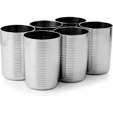 Mosaic 6Pcs Ribbed Tumbler Drinking Glass - Silver