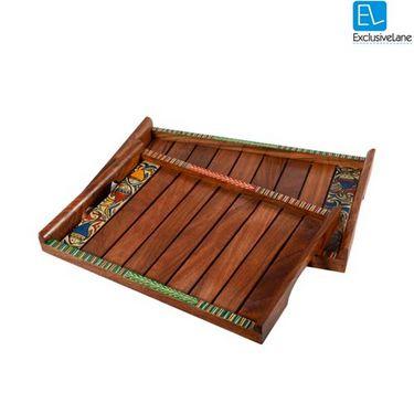 Set of 2 Exclusivelane Madhubani Handpainted Sheesham Wooden Tray - Brown