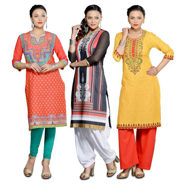 Manvika Collection of 3 Designer Readymade Kurtas by Pakhi