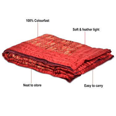Maroon Jaipuri Silk Razai with Gold Prints