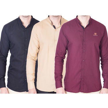 Cliths Pack of 3 Cotton Shirts For Men_Md079