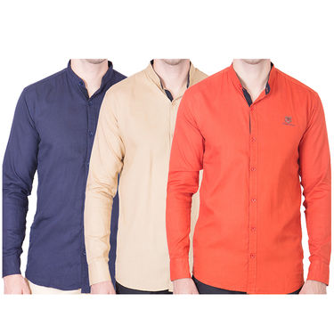 Cliths Pack of 3 Cotton Shirts For Men_Md083