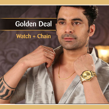 Men's Gold Watch with Gold Chain (MGWC2)