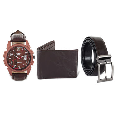 Men's Leatherite Watch + Reversible Belt + Wallet