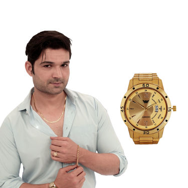 Men's Gold Jewellery with Gold Watch