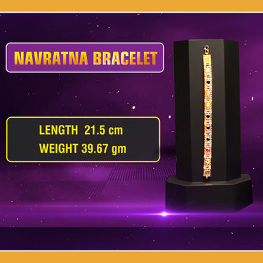 Men's Gold Navratan Bracelet with Gold Chain (MNBGC1)