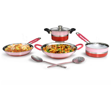 Multicolor 5 Pcs Induction Friendly Cookware Set + 2 Kitchen Tools