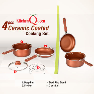 4 Pcs Ceramic Coated Cooking Set - Double Sided