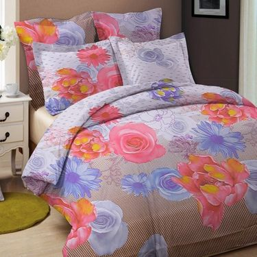 Combo of Valtellina Double Bedsheet + 2 Pillow Cover + 1 Cushion Cover & 1 Door Mat_Nld001
