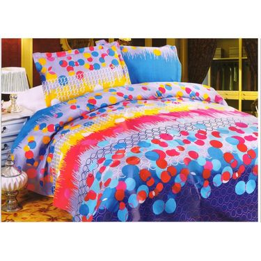 Set of 3 Multicolor Poly Cotton Double Bedsheet with 6 Pillow Covers -NLD-10-07_08_09
