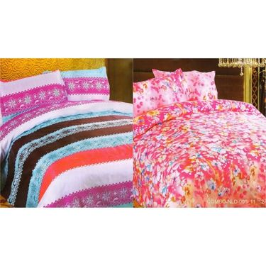Set of 2 Multicolor Poly Cotton Double Bedsheet with 4 Pillow Covers -NLD-6-11_12