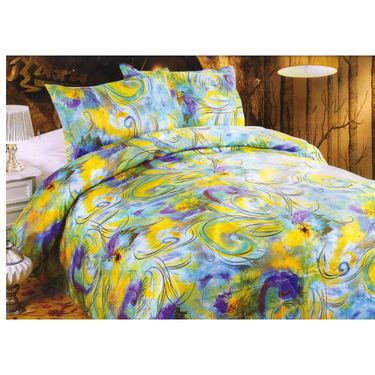 Set of 3 Multicolor Poly Cotton Double Bedsheet with 6 Pillow Covers -NLD-8-01_02_04