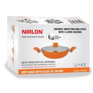 Nirlon  4 Layer Ceramic Induction Deep Kadhai With Lid 26 cm_NR48826