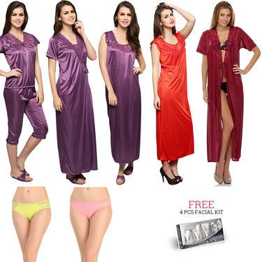 Set Of 12 Pcs Clovia Nightwear, Facial Kit & Brief -NSC302C99