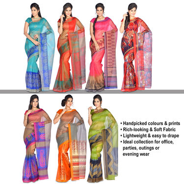Naina Pack of 7 Printed Kota Doria Sarees by Pakhi (7K6) with 7 Free Jewellery