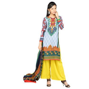 Naira Set of 7 Mughal Inspired Printed Dress Material by Pakhi (7PDM7)