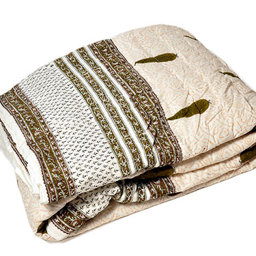 Little India Designer Printed Sanganeri Print Single Bed AC Quilt - White
