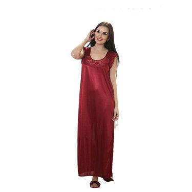 Mia 7 Pcs Satin Nightwear - Maroon