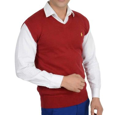 Branded Regular Fit Cotton Sweater_Os11 - Maroon