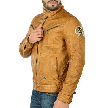Branded Regular Fit Leather Jacket_Os17 - Brown