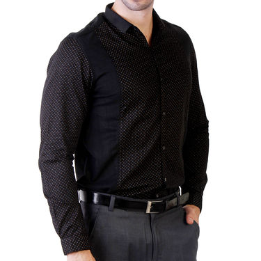 Branded Slim Fit Cotton Shirt_Os33 - Black