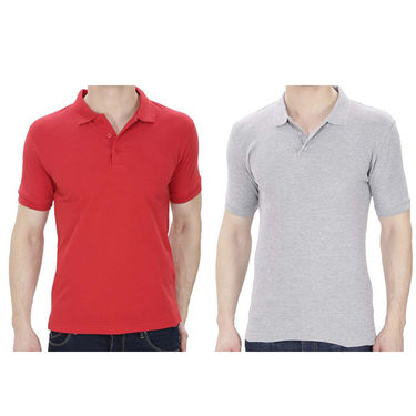 Pack of 2 Oh Fish Plain Polo Neck Tshirts_P2gryred - Grey & Red