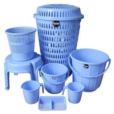 Chetan  Plastic Bathroom Set of 8Pc (Blue Color)