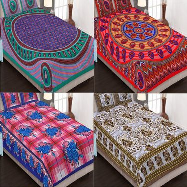 Traditional Jaipuri 100% Cotton Sanganeri Printed 4 Double Bedsheets With 8 Pillow Covers-PF105DWP4B