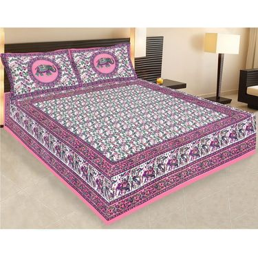 Combo of Jaipuri Print 100% Cotton 1 Diwan Set and 1 Double Bedsheet With Two Pillow Covers-PF112D1BS1D