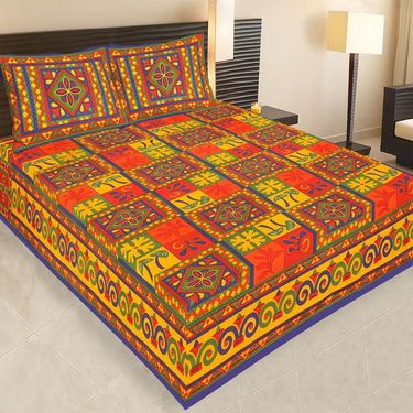 Set of 4 Jaipuri Cotton king size  Double Bedsheets With 8 Pillow Covers-PF11D4BWP
