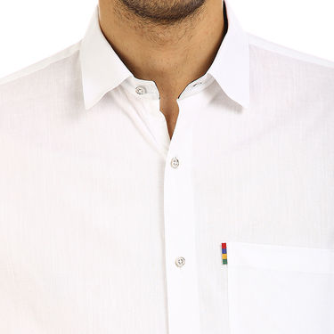Fizzaro Plain 100% Cotton Casual Shirt_Plcs03 - White