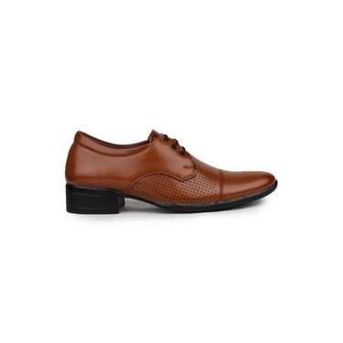 Pede Milan Synthetic Leather Tan Formal Shoes -pde50