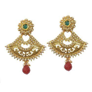 Pourni Exclusive Designer Pearl & Color Stone Earring_PRER14