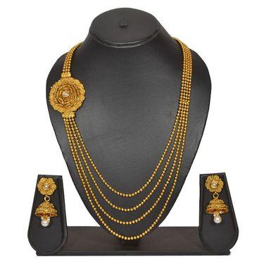 Pourni Stylish Brass Necklace Set_PRNK135 - Golden