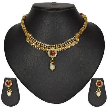 Pourni Stylish Brass Necklace Set_Prnk31 - Golden