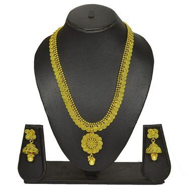 Pourni Stylish Brass Necklace Set_Prnk64 - Golden
