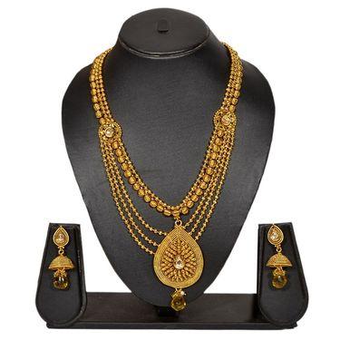 Pourni Stylish Brass Necklace Set_Prnk74 - Golden