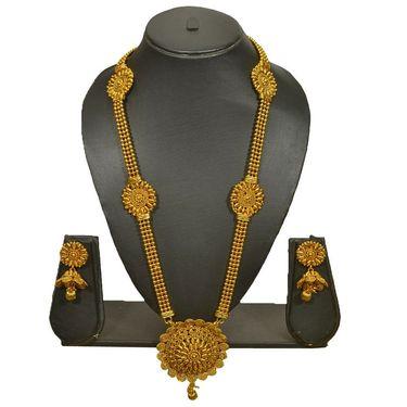 Pourni Stylish Brass Necklace Set_Prnk86 - Golden