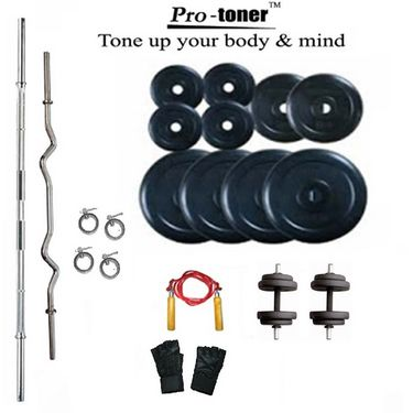 Protoner Weight Lifting Package 38 Kgs  +  5 ft. Straight +  3 ft. Curl Rod