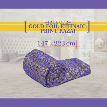 Pack of 2 Gold Foil Ethnic Print Razai