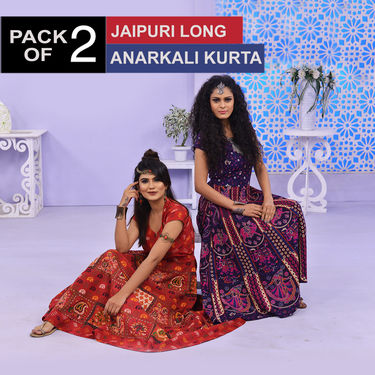 Pack of 2 Jaipuri Long Anarkali Kurta by Pakhi (2LK1)