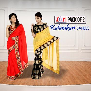 Pack of 2 Kalamkari Sarees by Zuri (KS1)