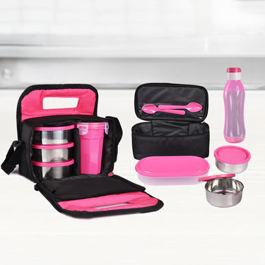 Pack of 2 Lunch Box with Lassi Jar & Water Bottle