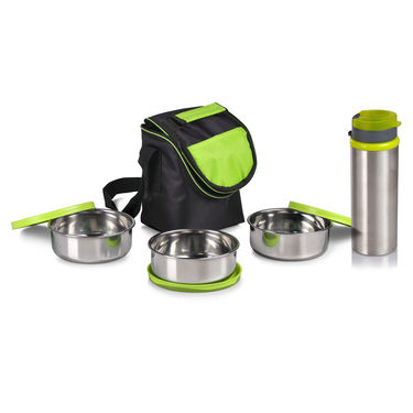 Pack of 2 Steel Lunch Box with Bottles