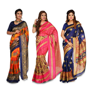 Pack of 3 Assorted Printed Art Silk Sarees by Pakhi (3A1)