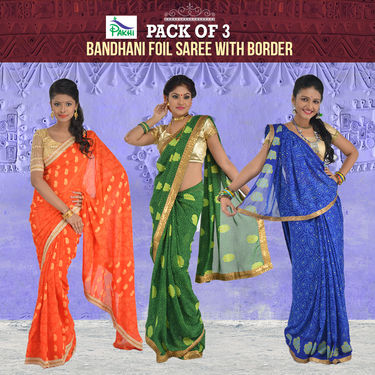 Pack of 3 Assoretd Bandhani Saree with Zari Border by Pakhi (3BFS1)