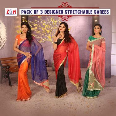 Pack of 3 Designer Stretchable Sarees by Zuri (DES5)