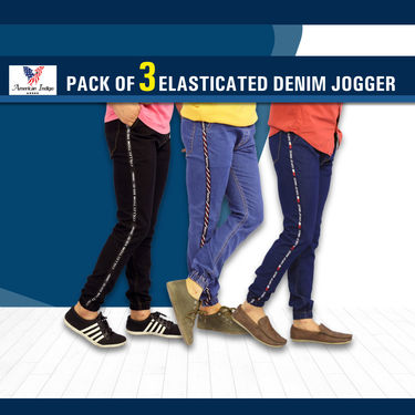 Pack of 3 Denim Joggers with Taping (MT12)