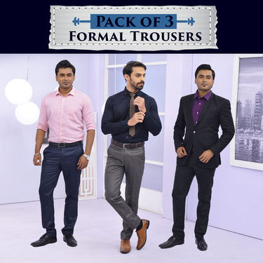 Pack of 3 Formal Trousers (P3T2)